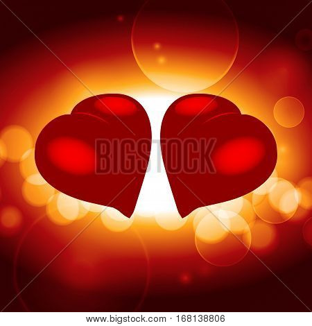 3D Illustration of a Pair of Red Hearts Facing Each Other Over Warm Glowing Background