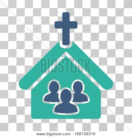 Church icon. Vector illustration style is flat iconic bicolor symbol, cobalt and cyan colors, transparent background. Designed for web and software interfaces.