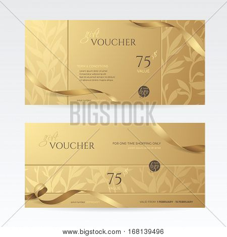 Set of stylish gift vouchers with ribbon and floral pattern. Vector golden template for gift card, coupon and certificate. Isolated from the background.