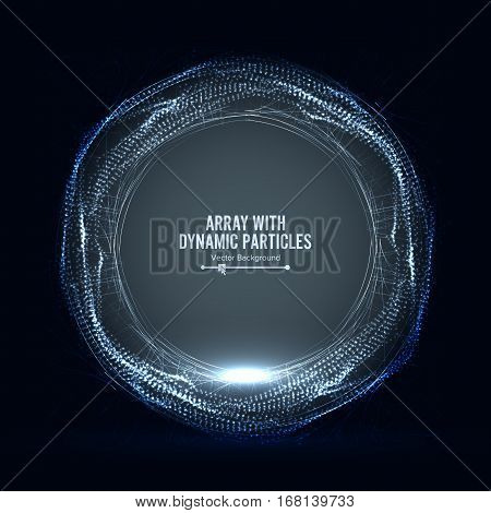 Array Vector With Dynamic Particles. Round Dots Array And Lines. Graphic Abstract Background With Lighting Effect poster