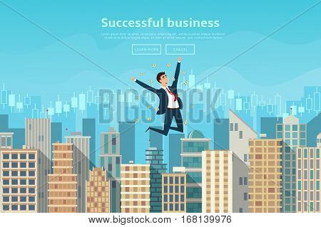 Successful businessman jumping for joy. Vector illustration. Joyful man with money. Modern flat design of urban landscape with city buildings.