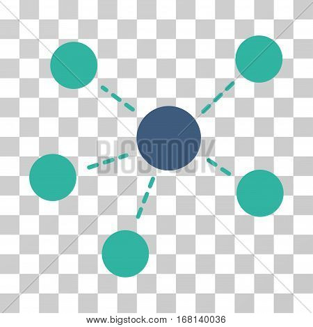 Connections icon. Vector illustration style is flat iconic bicolor symbol, cobalt and cyan colors, transparent background. Designed for web and software interfaces.