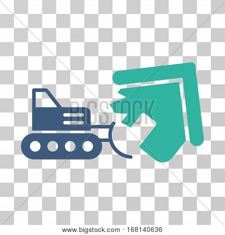Demolition icon. Vector illustration style is flat iconic bicolor symbol, cobalt and cyan colors, transparent background. Designed for web and software interfaces.