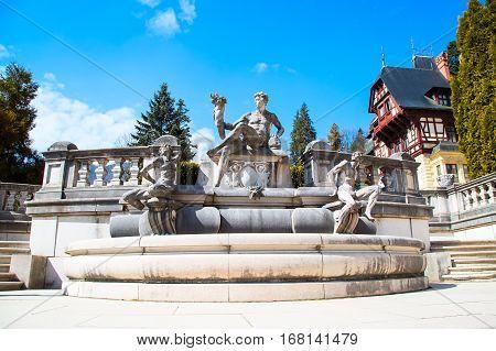 Sculpture in the garden of the Peles Castle, Transylvania, Romania