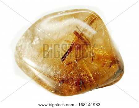 rutilated quartz semigem geode crystals geological mineral isolated