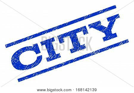 City watermark stamp. Text caption between parallel lines with grunge design style. Rotated rubber seal stamp with unclean texture. Vector blue ink imprint on a white background.