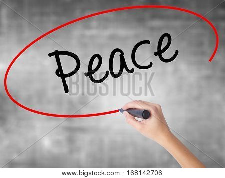 Woman Hand Writing Peace  With Black Marker Over Transparent Board