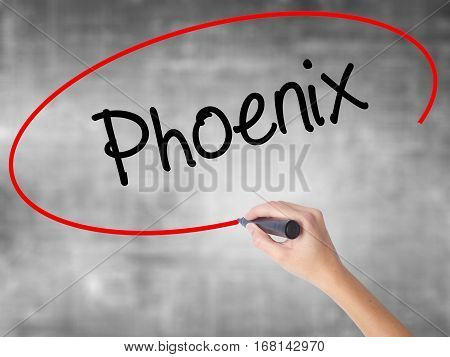 Woman Hand Writing Phoenix  With Black Marker Over Transparent Board
