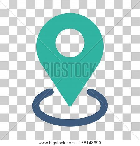 Geo Targeting icon. Vector illustration style is flat iconic bicolor symbol, cobalt and cyan colors, transparent background. Designed for web and software interfaces.