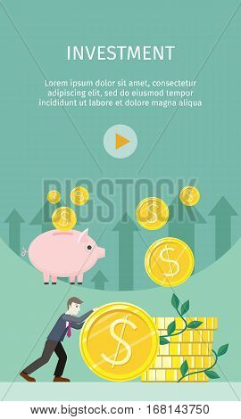 Investment concept flat style vector. Smiling businessman rolls giant gold dollar coin near stack of money. Coins falling in piggybank. Increasing capital and profits. Wealth and savings growing.