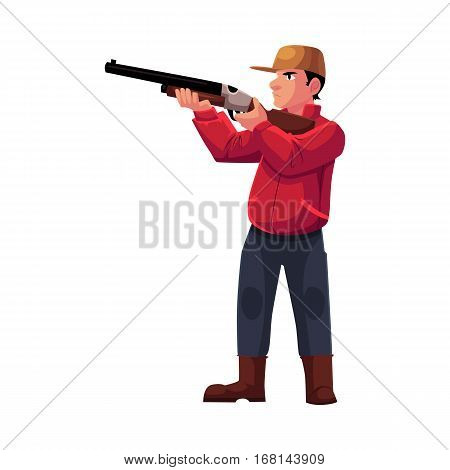 Single hunter aiming at his target with a gun, rifle, cartoon vector illustration isolated on white background. Full length portrait of typical modern hunter in jacket and boots aiming with a gun