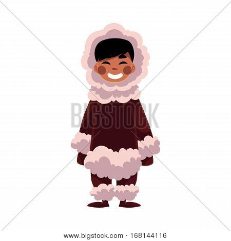 Eskimo, Inuit black haired boy in sheepskin warm winter clothes, cartoon vector illustration isolated on white background. Full length portrait of smiling Eskimo, Inuit little boy