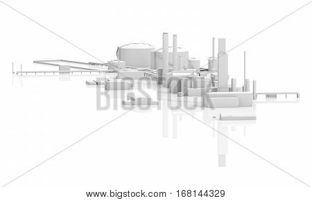 Abstract Modern Industrial Factory 3D