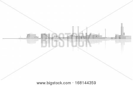 Abstract Modern Industrial Facility 3 D