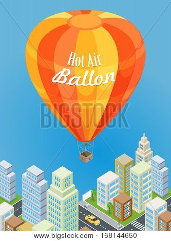 Hot air balloon flying over urban city. Aircraft consists of bag called envelope, gondola or wicker basket, which carries passengers and source of heat. Icon of traveling, tourism and journey. Vector