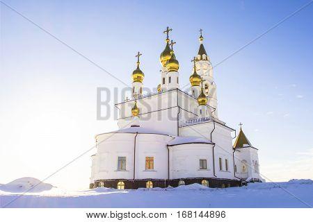 Orthodox Church against the blue sky .