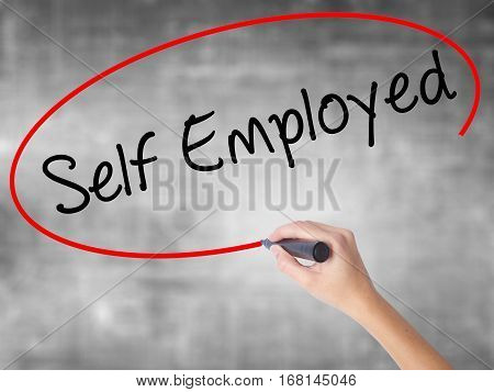Woman Hand Writing Self Employed With Black Marker Over Transparent Board