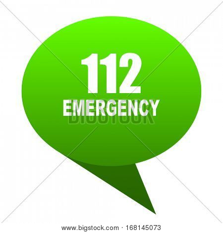 number emergency 112 green bubble web icon