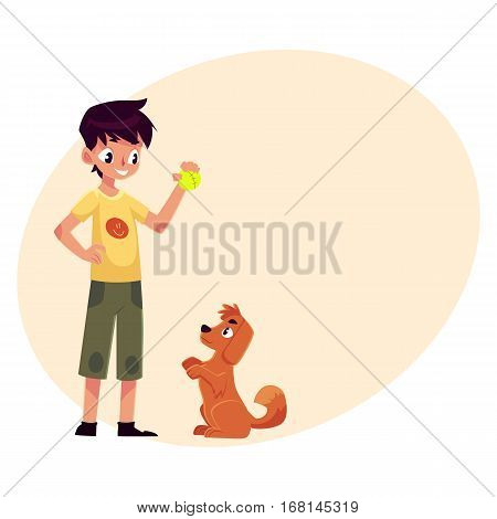 Teenage boy standing and playing with his fluffy red dog, puppy, cartoon vector on background with place for text. Full length portrait of black haired boy playing with his dog using a ball
