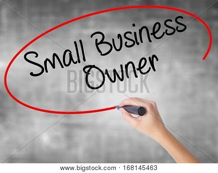 Woman Hand Writing Small Business Owner With Black Marker Over Transparent Board