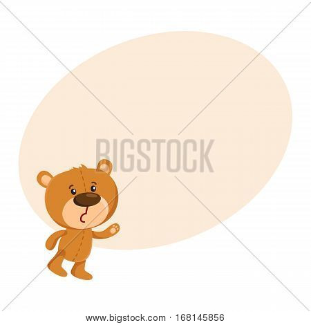 Cute traditional, retro style teddy bear character unhappily surprised, cartoon vector illustration on background with place for text. Teddy bear character sad, disappointed, unhappily surprised