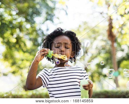Bubble Blowing Kid Leisure Girl Joy Casual