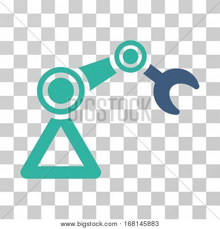 Manipulator Equipment icon. Vector illustration style is flat iconic bicolor symbol, cobalt and cyan colors, transparent background. Designed for web and software interfaces.