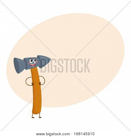 Funny metal hammer, building, repair tool character, cartoon vector on background with place for text. Comic style metal hammer with wooden handle, building tool character, mascot standing