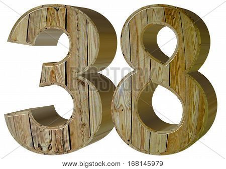 Numeral 38, Thirty Eight, Isolated On White Background, 3D Rende