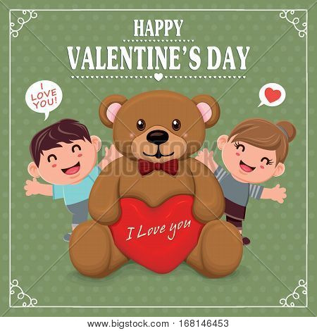 Vintage Valentines Day poster design with couple & bear