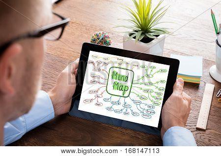 Close-up Of A Businessperson Holding Digital Tablet Showing Mind Map Concept On Wooden Desk