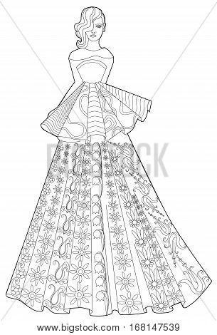 Coloring book page for adults. Woman in a long dress. Fashion.