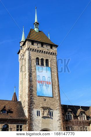 Zurich, Switzerland - 29 January, 2017: tower of the Swiss National Museum. The Swiss National Museum (German: Landesmuseum) is one of the most important art museums of cultural history in Europe.