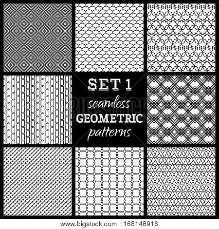 Set of seamless geometric patterns. Various black and white boundless backgrounds.