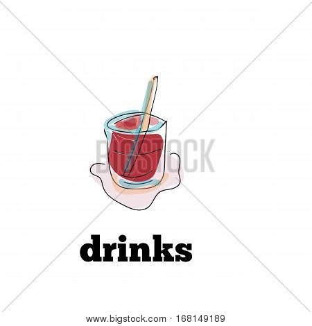 Hand drawn drinks icon for menu . Vector illustration