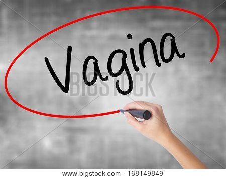 Man Hand Writing Vagina With Black Marker On Visual Screen