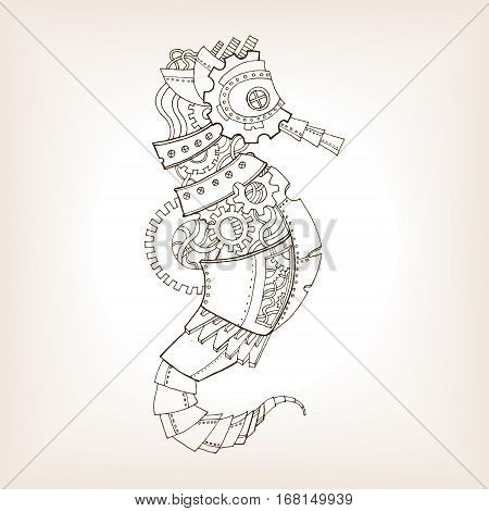 Ancient draft of mechanical sea horse. Mechanical animal vector illustration.