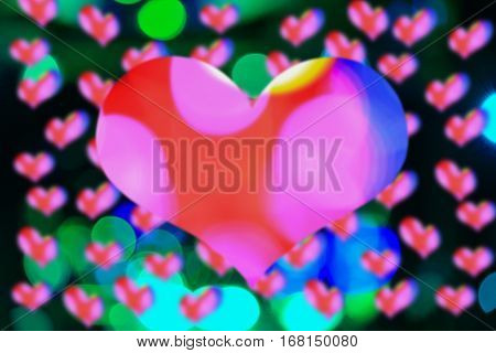 Abstract bokeh shape heart light in night valentine day concept beautiful background