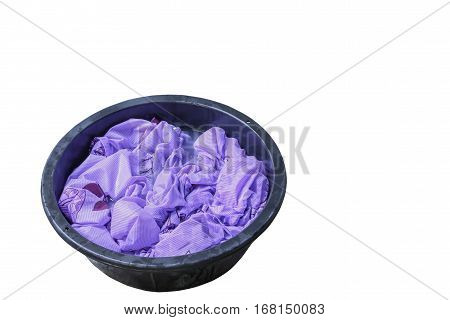 Soak dirty clothes in the basin black for cleansing isolated on white background and clipping path