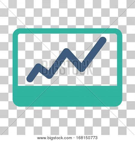 Stock Market icon. Vector illustration style is flat iconic bicolor symbol, cobalt and cyan colors, transparent background. Designed for web and software interfaces.
