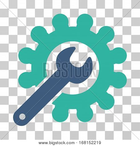 Wrench And Gear Customization Tools icon. Vector illustration style is flat iconic bicolor symbol, cobalt and cyan colors, transparent background. Designed for web and software interfaces.