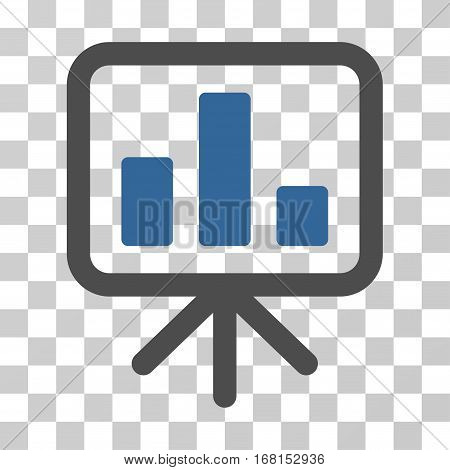 Bar Chart Display icon. Vector illustration style is flat iconic bicolor symbol, cobalt and gray colors, transparent background. Designed for web and software interfaces.