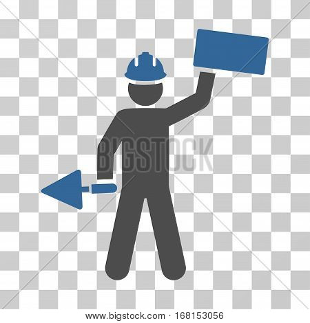 Builder With Brick icon. Vector illustration style is flat iconic bicolor symbol, cobalt and gray colors, transparent background. Designed for web and software interfaces.