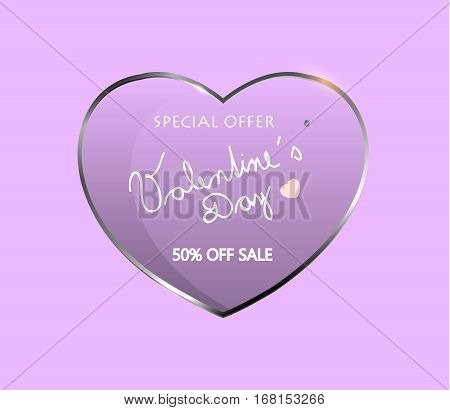 Vector valentine´s day sale special offer. Glossy heart with love theme.