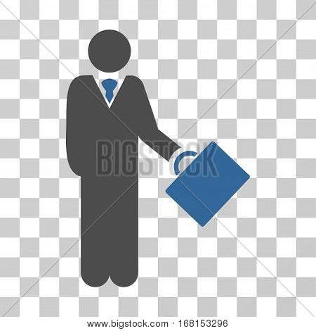 Businessman icon. Vector illustration style is flat iconic bicolor symbol, cobalt and gray colors, transparent background. Designed for web and software interfaces.