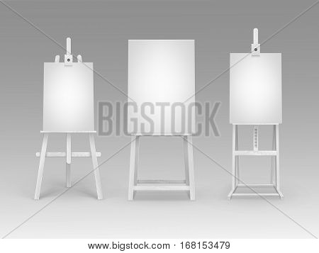 Vector Set of White Wooden Easels with Mock Up Empty Blank Vertical Canvases Isolated on Background