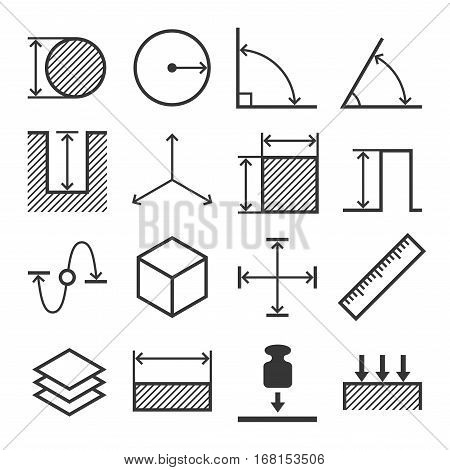 Measure Related Icons Set on White Background. Vector illustration