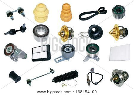 Spare auto parts for car on white background. Set with many isolated items for shop or aftermarket, OEM