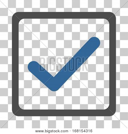 Checkbox icon. Vector illustration style is flat iconic bicolor symbol, cobalt and gray colors, transparent background. Designed for web and software interfaces.