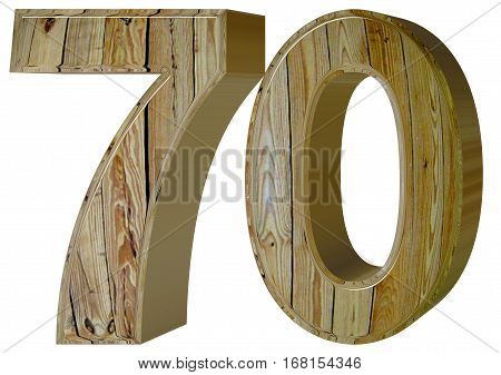 Numeral 70, Seventy, Isolated On White Background, 3D Render
